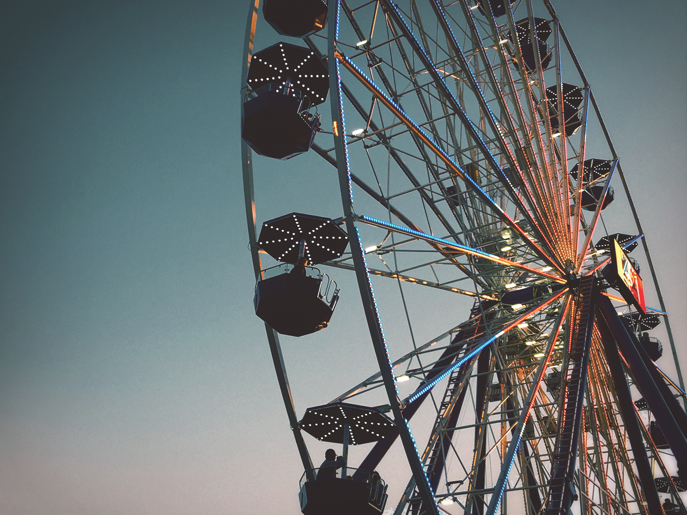 North Carolina State Fair Ferris Wheel at dusk. Photo by Scott Gates.